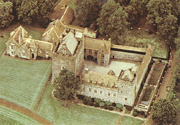 Aerial view of Dean Castle on an old postcard